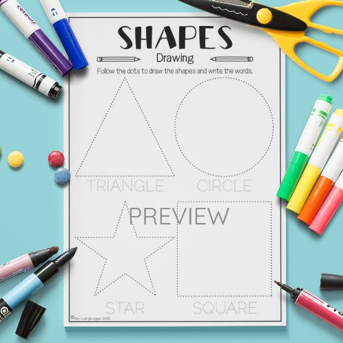 ESL English Kids Shapes Drawing Worksheet