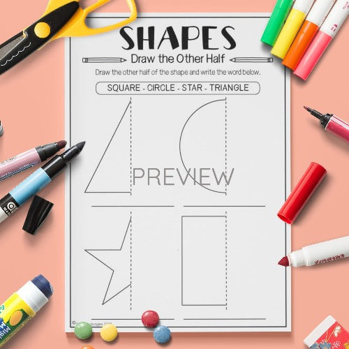 ESL English Kids Shapes Draw The Other Half Worksheet