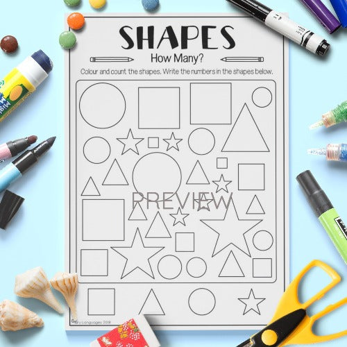 ESL English Kids Shapes Counting Activity Worksheet