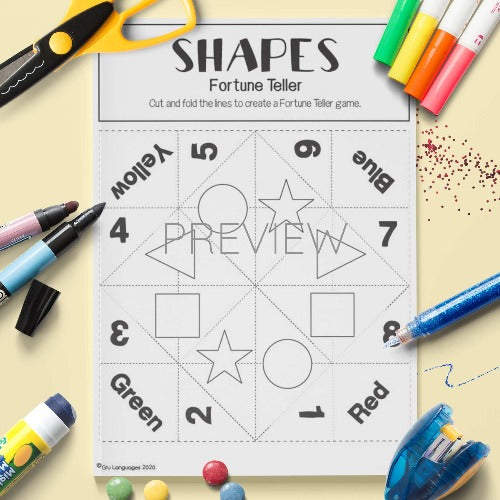 ESL English Shape Fortune Teller Craft Activity Worksheet