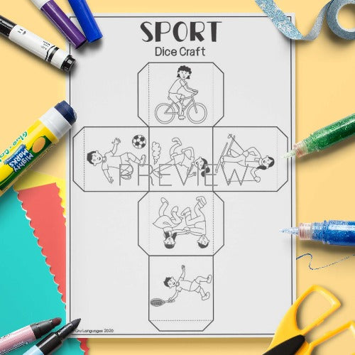 ESL English Sport Dice Craft Activity Worksheet