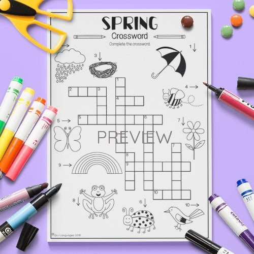ESL English Kids Spring Crossword Worksheet