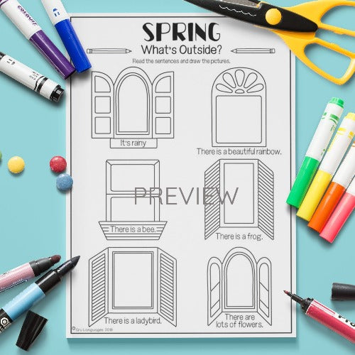 ESL English Kids Spring What's Outside? Worksheet