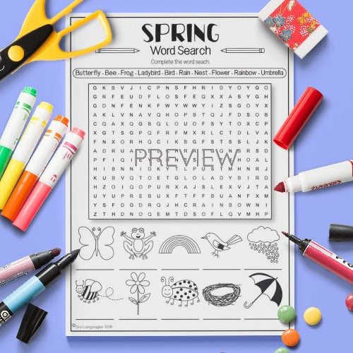 ESL English Kids Spring Word Search Worksheet