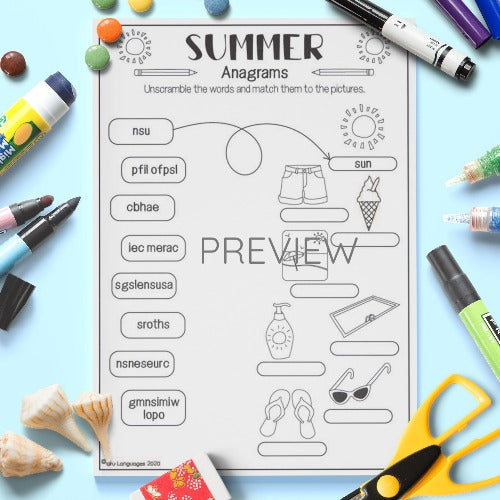 ESL English Summer Anagrams Activity Worksheet