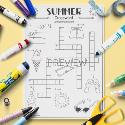 ESL English Summer Crossword Activity Worksheet