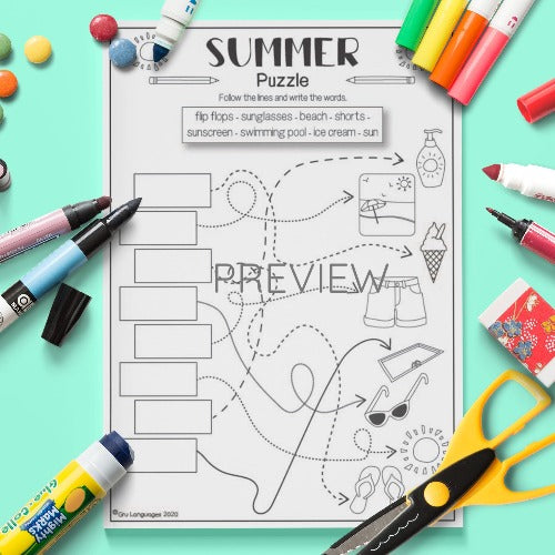 ESL English Summer Puzzle Activity Worksheet