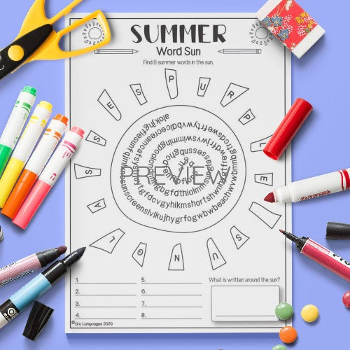 ESL English Summer Word Sun Activity Worksheet