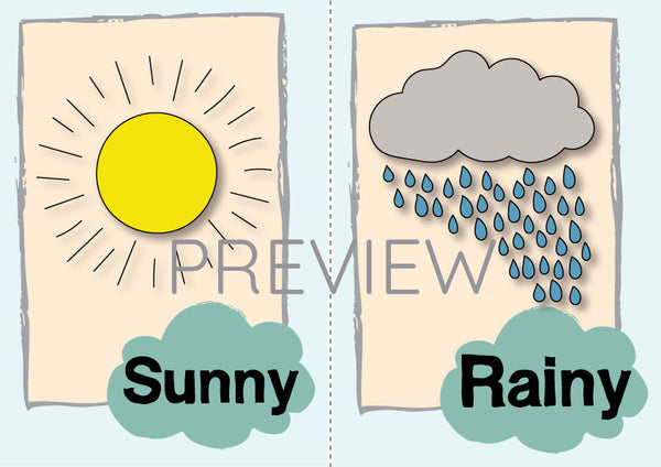 Sunny and Rainy Flashcard