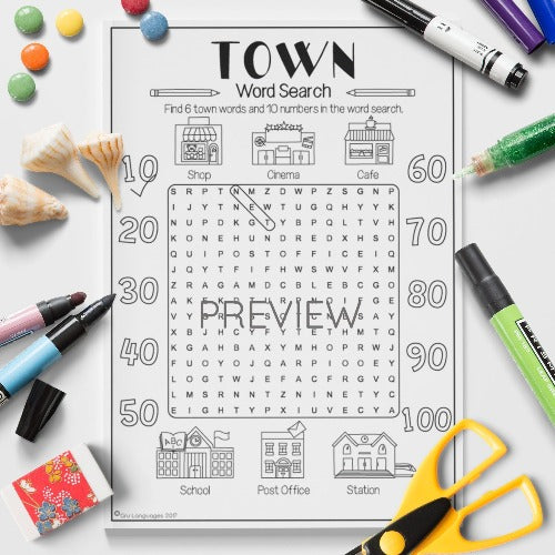 ESL English Kids Town Word Search Worksheet