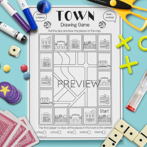 ESL English Kids Town Drawing Game Worksheet