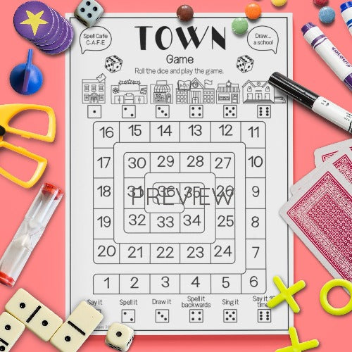 ESL English Kids Town Board Game Worksheet