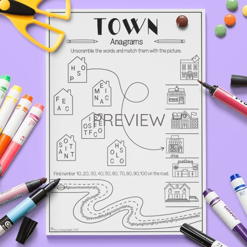 ESL English Kids Town Anagrams Worksheet