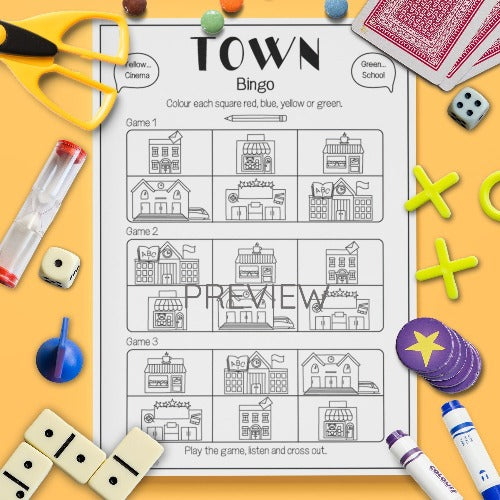 ESL English Kids Town Bingo Game Worksheet