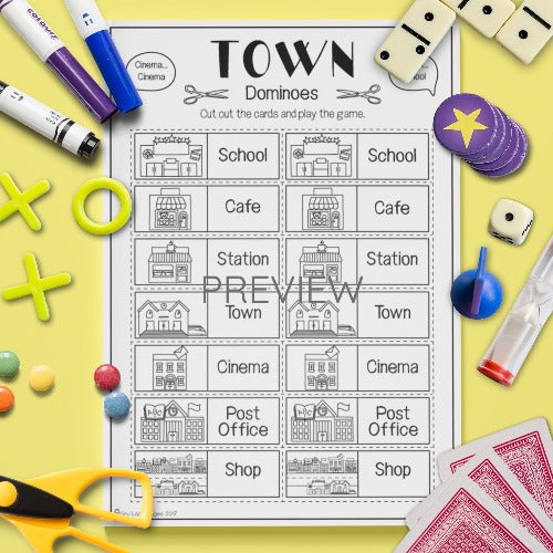 ESL English Kids Town Dominoes Game Worksheet