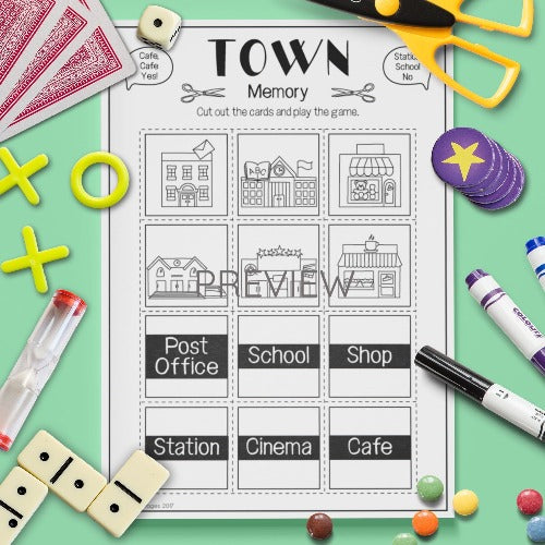 ESL English Kids Town Memory Game Worksheet