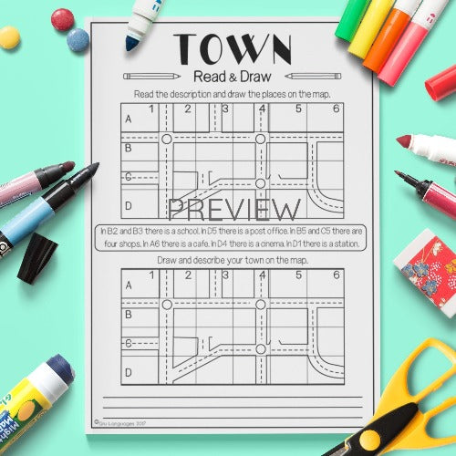 ESL English Kids Town Read and Draw Worksheet