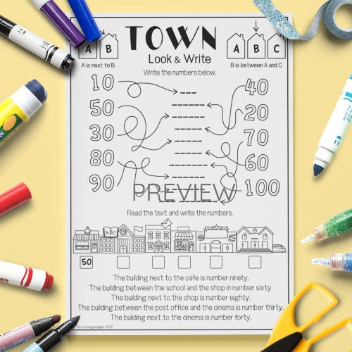 ESL English Kids Town Look and Write Worksheet