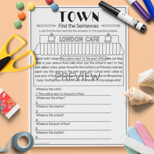 ESL English Kids Town Find The Sentences Worksheet