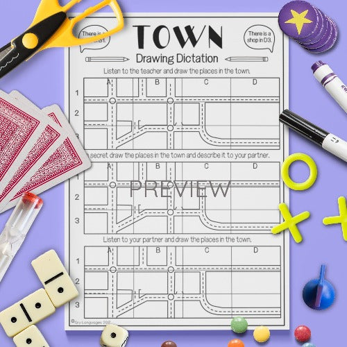 ESL English Kids Town Drawing Dictation Game Worksheet