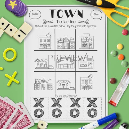 ESL English Kids Town Tic Tac Toe Game Worksheet