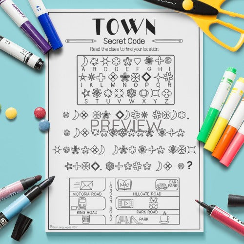ESL English Kids Town Secret Code Worksheet