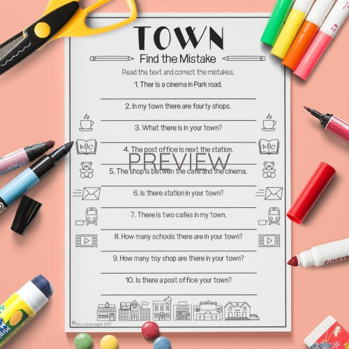 ESL English Kids Town Find The Mistake Worksheet