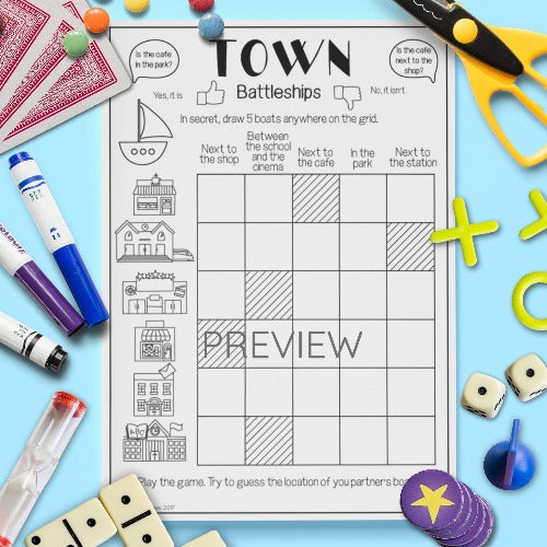 ESL English Kids Town Battleships Game Worksheet