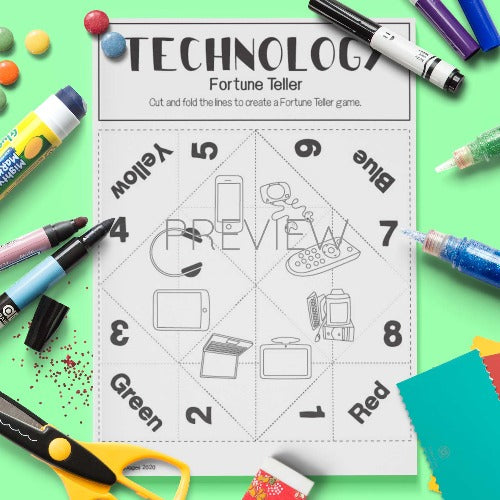 ESL English Technology Fortune Teller Craft Activity Worksheet