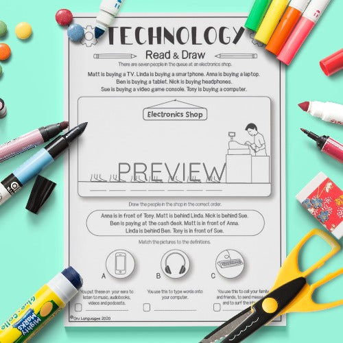 ESL English Kids Technology Read and Draw Activity Worksheet