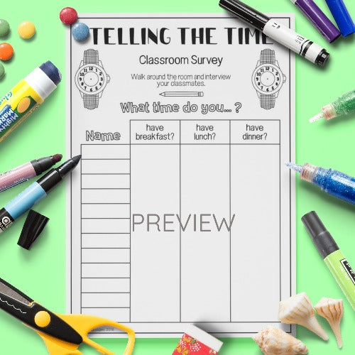 ESL English Kids Telling The Time Class Survey Worksheet