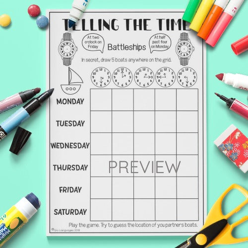 ESL English Kids Telling the Time Battleships Game Worksheet