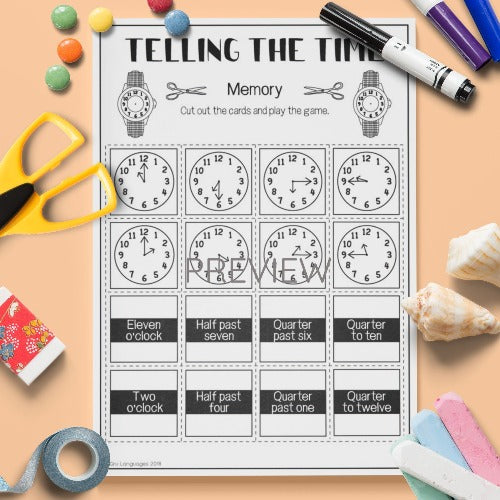ESL English Kids Telling The Time Memory Game Worksheet