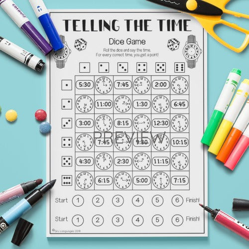 ESL English Kids Telling The Time Dice Game Worksheet