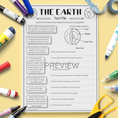 ESL English Kids Space The Earth Fact File Worksheet
