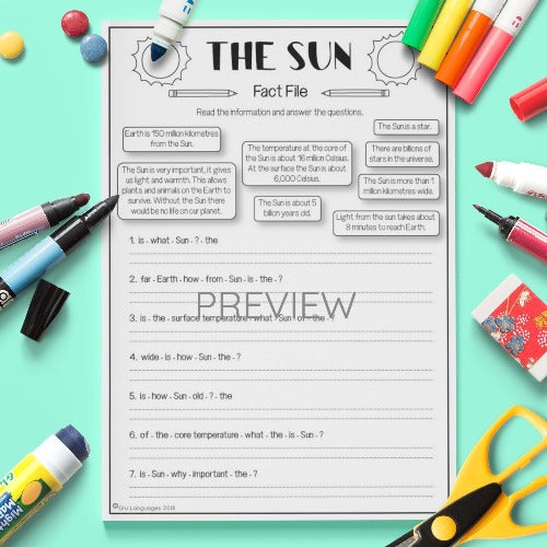 ESL English Kids Space The Sun Fact file Worksheet