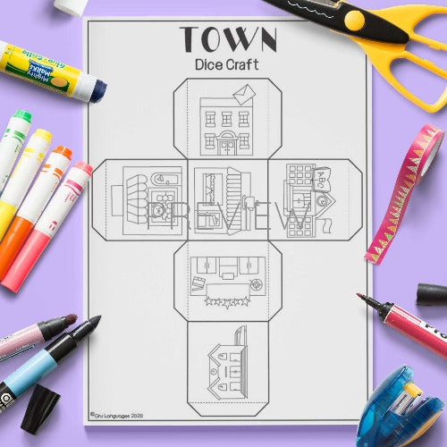 ESL English Town Dice Craft Activity Worksheet