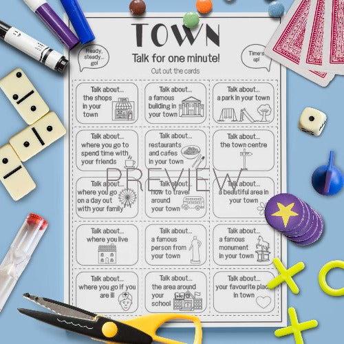 ESL English Kids Town Talk For A Minute Cards Worksheet