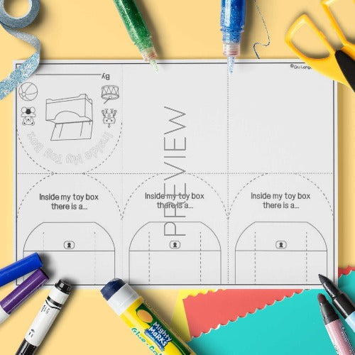 ESL English Toy Flap Book Craft Activity Worksheet