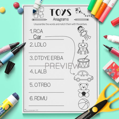 ESL English Kids Toy Anagrams Activity Worksheet