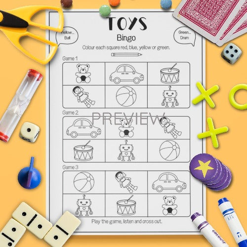 ESL English Kids Toys Bingo Game Worksheet