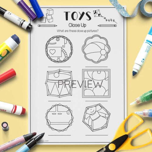 ESL English Kids Toys Close Up Activity Worksheet