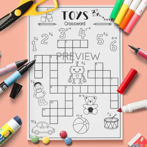 ESL English Kids Toys Crossword Activity Worksheet