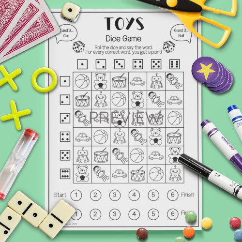 ESL English Kids Toys Dice Game Worksheet