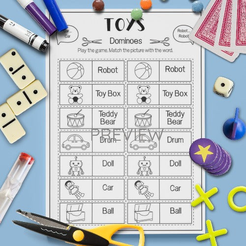 ESL English Kids Toys Dominoes Game Worksheet