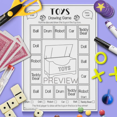 ESL English Kids Toys Drawing Game Worksheet