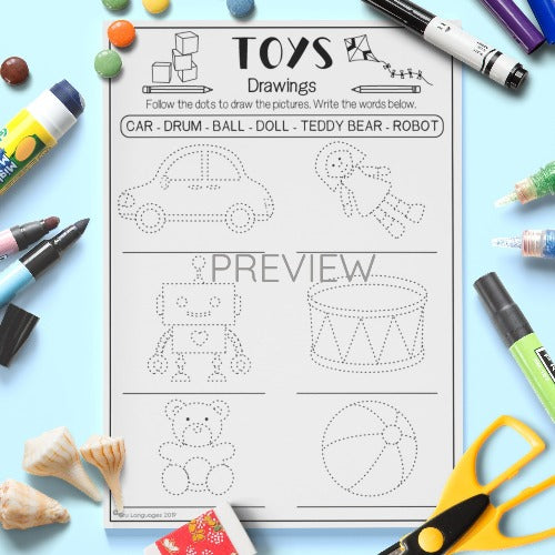 ESL English Kids Toys Drawing Activity Worksheet