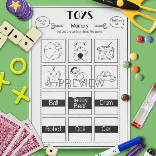 ESL English Kids Toys Memory Game Worksheet