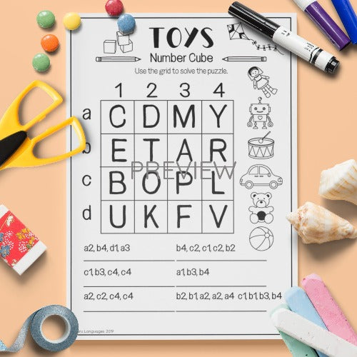 ESL English Kids Toys Number Cube Activity Worksheet