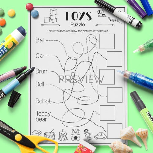 ESL English Kids Toys Puzzle Activity Worksheet